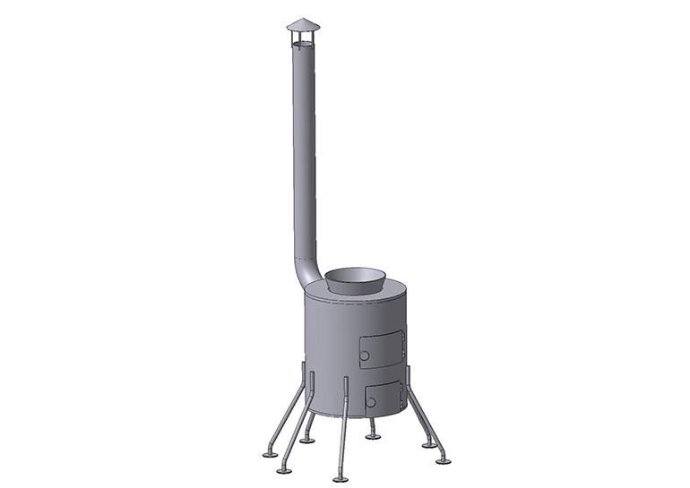чертеж  печь буржуйка 6 опор 3Д модель
