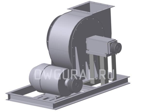 Пылевой вентилятор 120 45 №5 исполнение 5  3D модель вид с зади