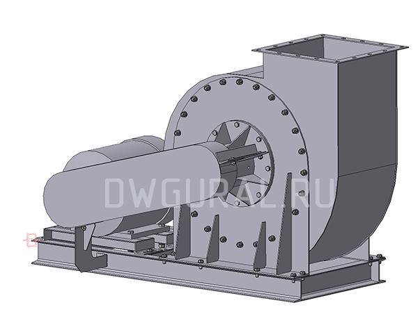 3D модель Пылевой вентилятор ВР120 45 №6,3 Исполнение 4 вид с зади