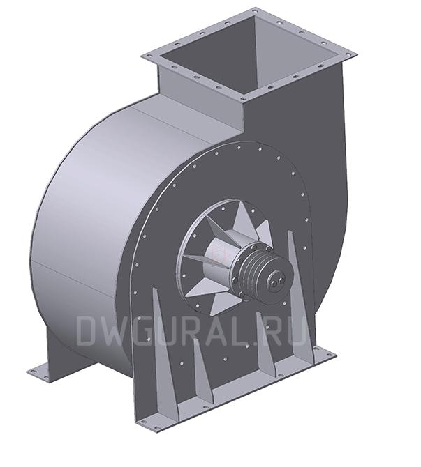 3D модель Улитка вентилятор ВР120 45 №6,3 вид с зади