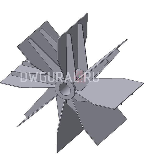 3D модель Крыльчатки Пылевого вентилятора ВР120 45 №6,3