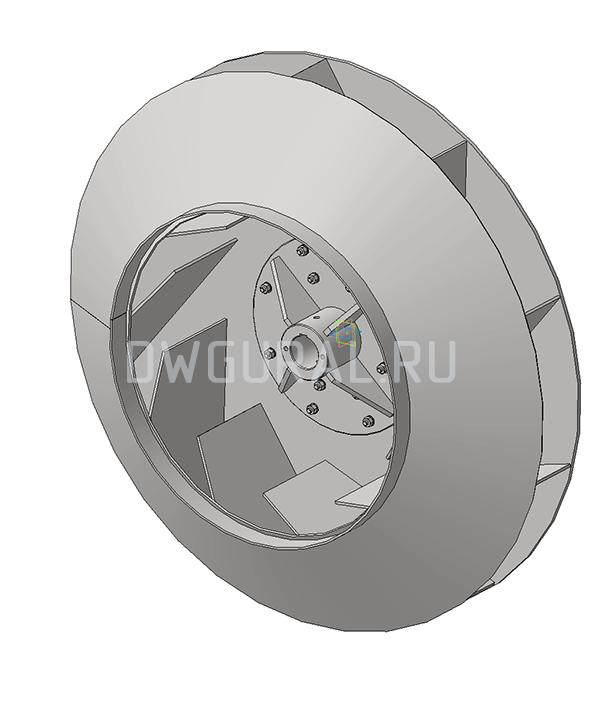 Сборочный чертеж Крыльчатка вентилятора №12,5 выполнена из листовой стали.   3д модель