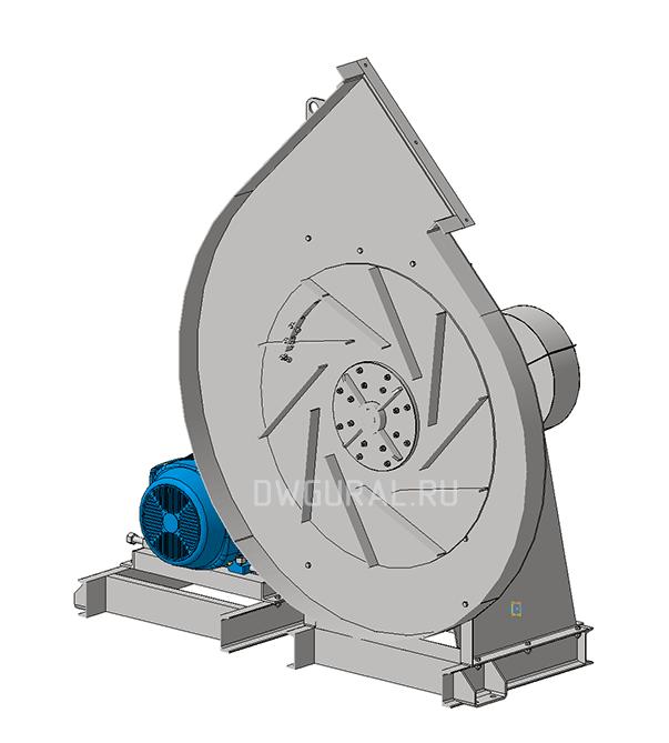 Сборочный чертеж  Разрез по крыльчатке. Вентилятор №12,5 3д модель