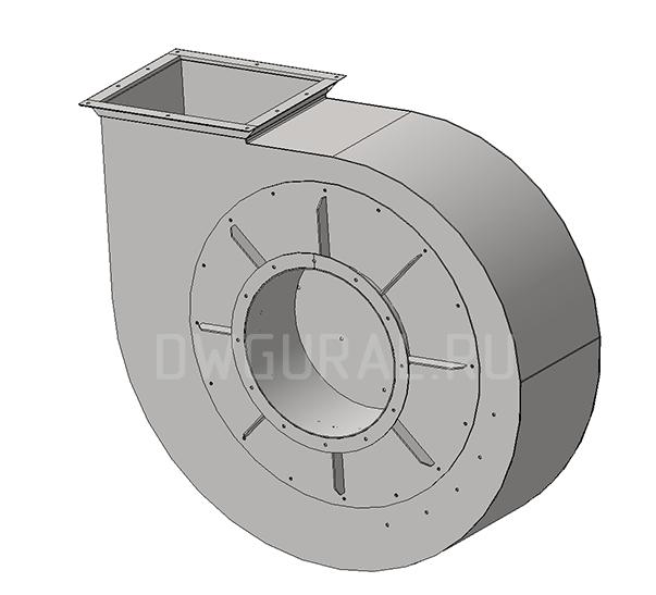 Сборочный чертеж  Улитка  в сборе. Вентилятора  №12,5 Исполнение 5  3д модель.