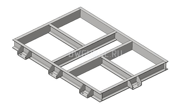 Сборочный чертеж Рама. Вентилятора №12,5  3д модель