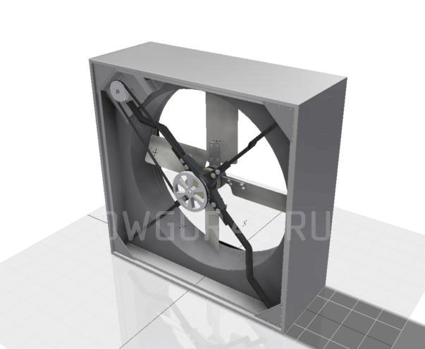 Сборочный чертеж Вентилятор Осевой  Диаметр окна 800. Вид со стороны привода.
