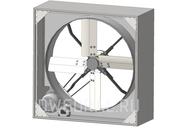 Сборочный чертеж Вентилятор Осевой  Диаметр окна 800. Вид с переди.