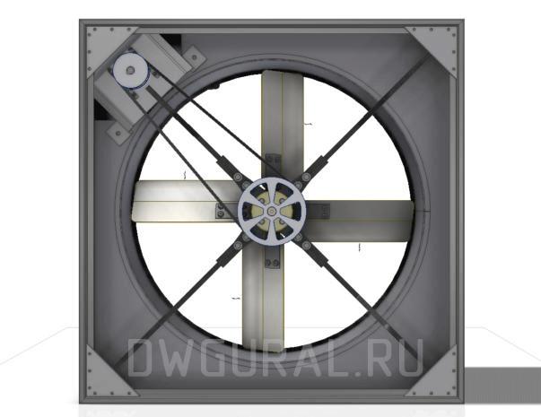Сборочный чертеж  Вентилятор Осевой  800. Вид с зади.