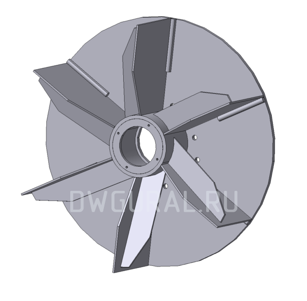 3Д модель крыльчатки пылевого вентилятора  Ф560