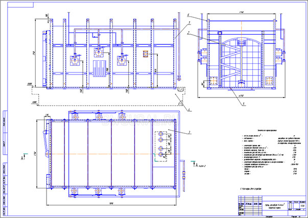 Чертеж общего вида Печь для отжига керамических изделий объемом 15 куб. м