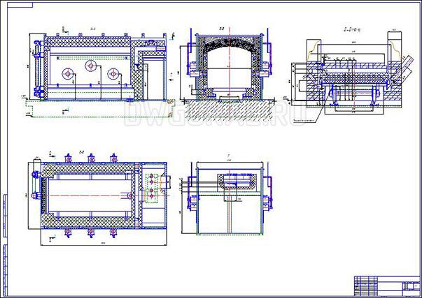Чертеж сборочный Печь для отжига керамических изделий объемом 15 куб. м