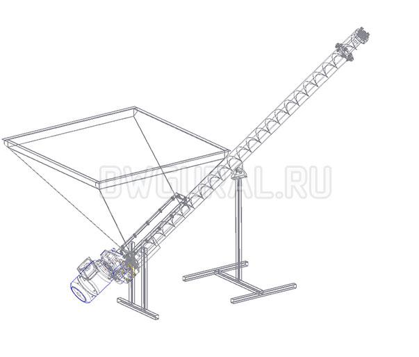 3D модель Шнековый транспортер разрез