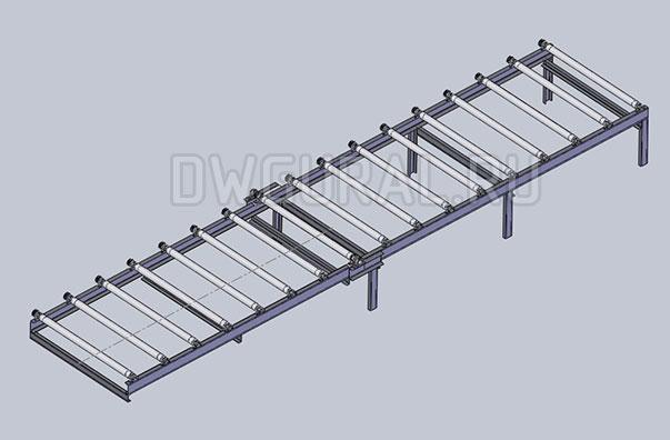 чертеж Рольганг для передачи металла с подъемной рамой