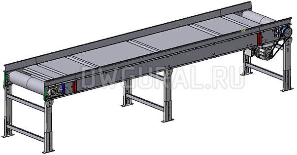 3D модель Ленточный конвейер 4 м сторона привода