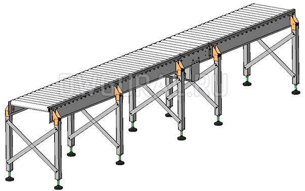 3D модель Роликовый конвейер 4 м общий вид