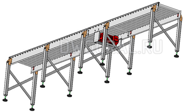 3D модель Роликовый конвейер 4 м вид с низу