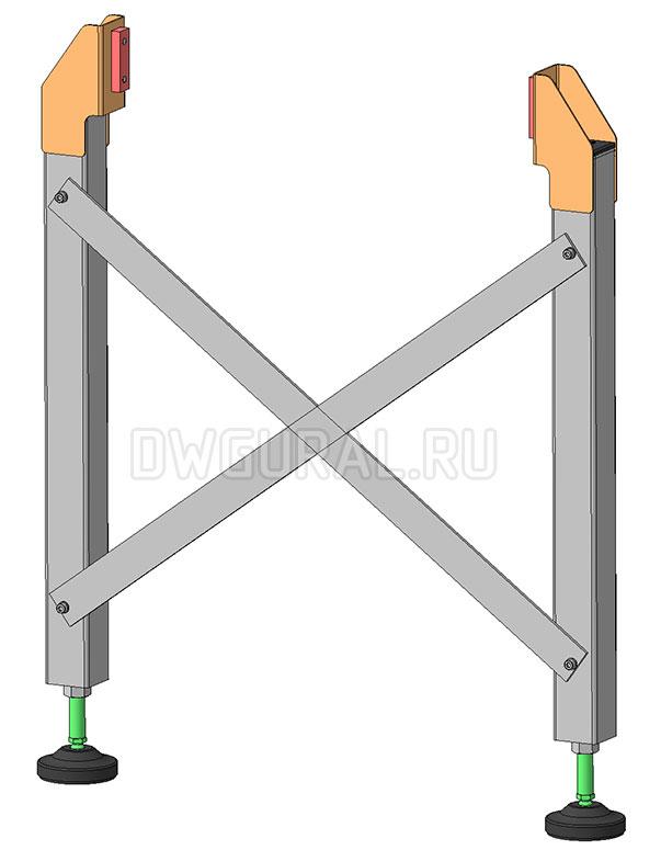 3D модель опры  Роликового конвейера 4 м