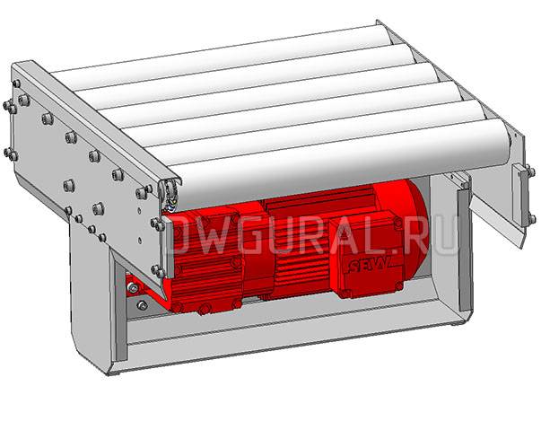 3D модель привода Роликового конвейера