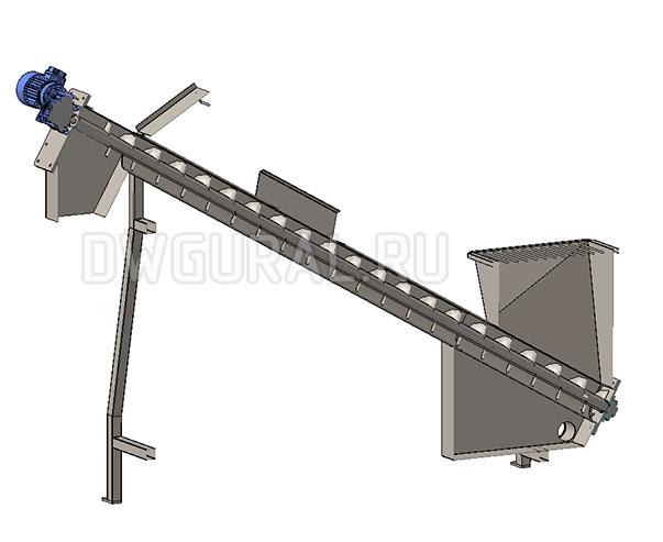 3d модель Шнековый конвейер  вид в разрезе