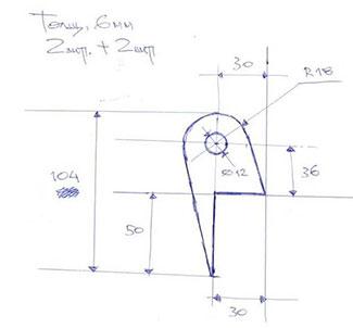 Dxf для ЧПУ  Чертеж плоской детали кронштейн ухо