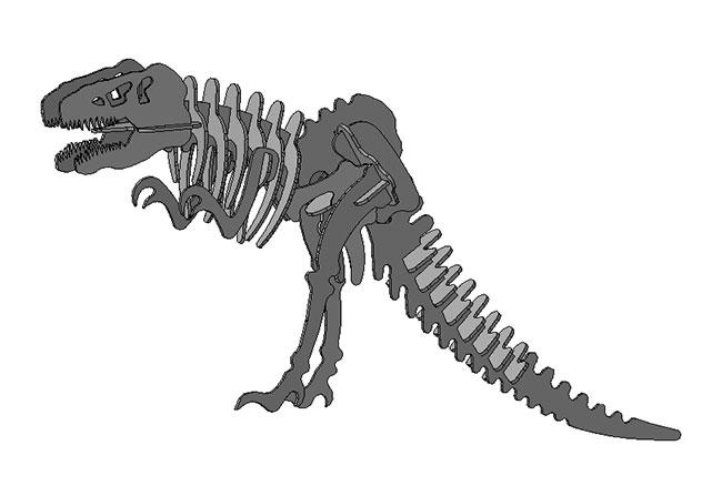 Dxf для ЧПУ 3D модель Тиранозавр Рекс из фанеры