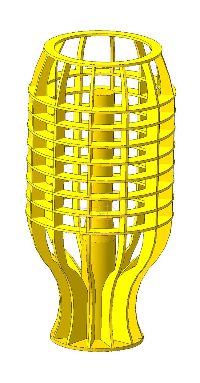 3D модель настольной лампы из фанеры  Цилиндр