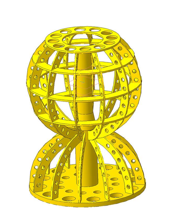 3D модель настольной лампы из фанеры  шар
