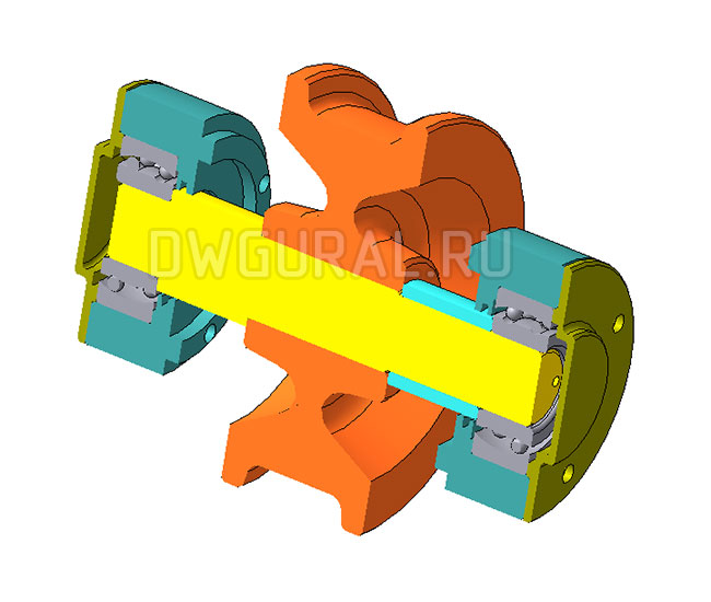 3D модель холостого колеса полукозлового крана грузоподъемностью 2т