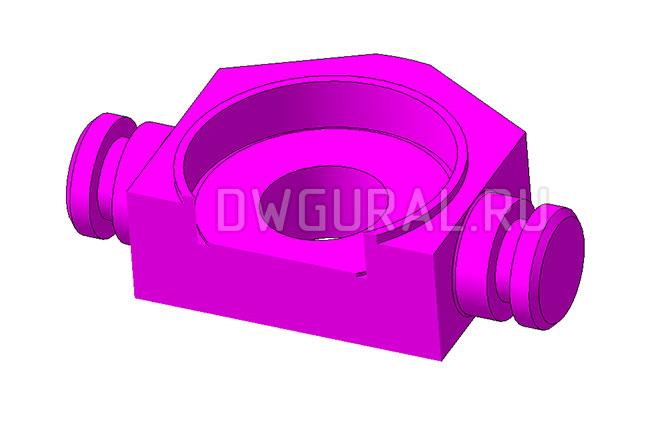 3д модель  траверса в разрезе  Крюковая-подвеска- грузоподъемность 5т