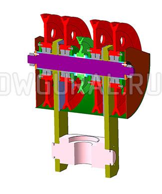 Крюковая подвеска грузоподъемность Q=75т  3д модель вид с разрезом