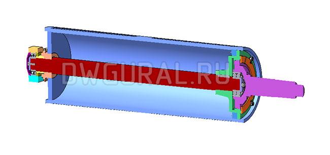 чертежи кранов Тросовый барабан грузоподъемность Q=20т  3д модель  Вид в разрезе.