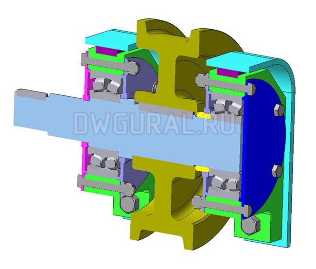 чертеж крана Колесо приводное Ход моста  Ф 400  3д модель  вид в разрезе