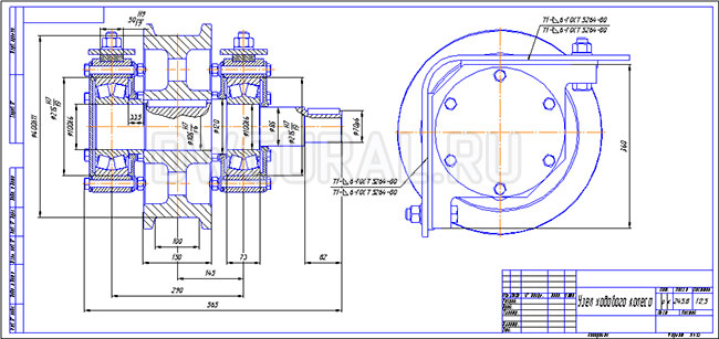 Сборочный чертеж крана Колесо приводное Ход моста  Ф 400 выполнен с  3д модели