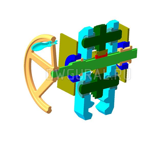 чертеж крана Захват противоугонный козлового крана.   3д модель  Вид в разрезе.