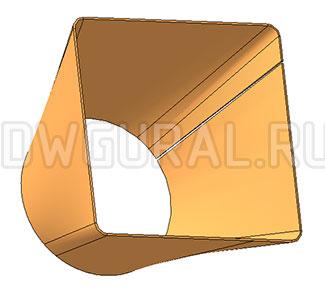 рабочий чертеж переходник с круга на квадрат выполнен с 3д модели