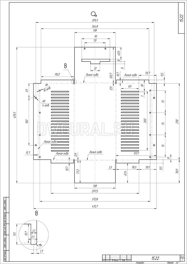 чертеж развертки Крышка инвертора электроприбор  рабочий чертеж развертки выполнен с 3д модели развертки.