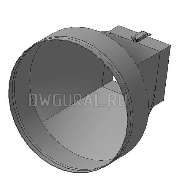 чертеж развертки Переходник с круга на квадрат выполнен из листового металла,  3д модель.