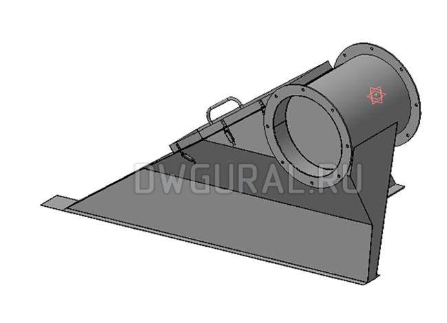чертеж плоской детали Короб воздуховода левый,  выполнен из листового металла.  3д модель.