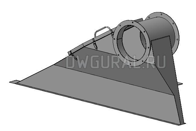 чертеж плоской детали Короб воздуховода правый,  выполнен из листового металла.  3д модель.