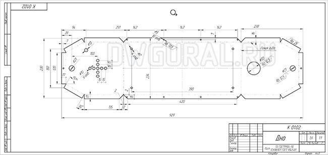 Рабочий чертеж развертки дна из листового металла выполнен с 3d модели.