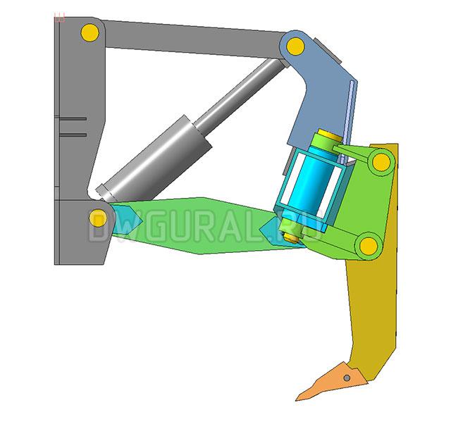 чертежи Рыхлитель гусеничного трактора.   вид с боку   3д модель