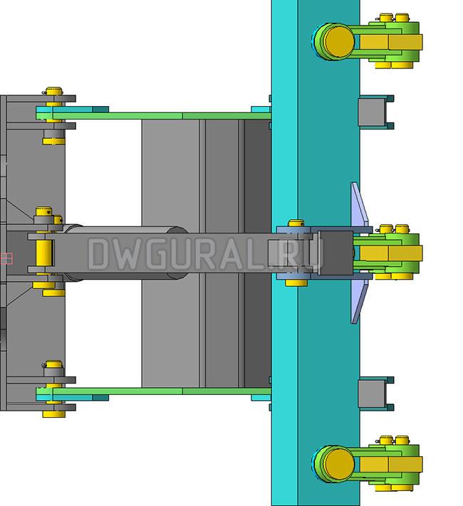 чертежи Рыхлитель гусеничного трактора.   вид с верху  3д модель
