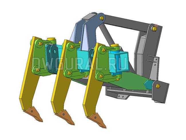 чертежи Рыхлитель гусеничного трактора.   изометрия   3д модель