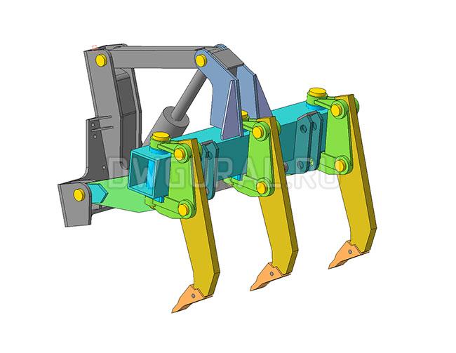 чертежи отвала  гусеничного трактора.   вид с зади   3д модель