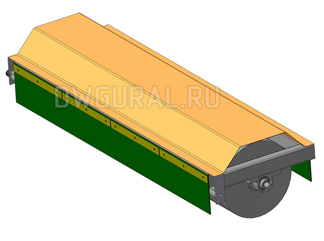 чертежи тракторов Щетки садового трактора. вид со стороны привода  3д модель
