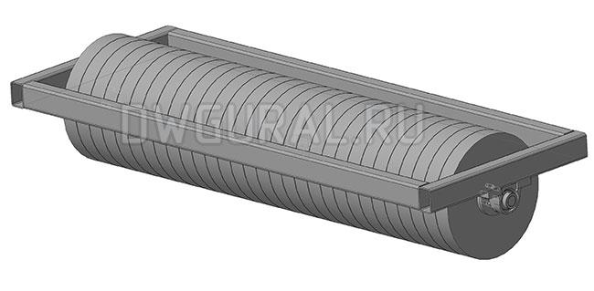чертежи тракторов Щетки садового трактора.   барабан со щетками.  3д модель