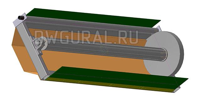 чертежи тракторов Щетки садового трактора. вид снизу щетки условно не показаны  3д модель