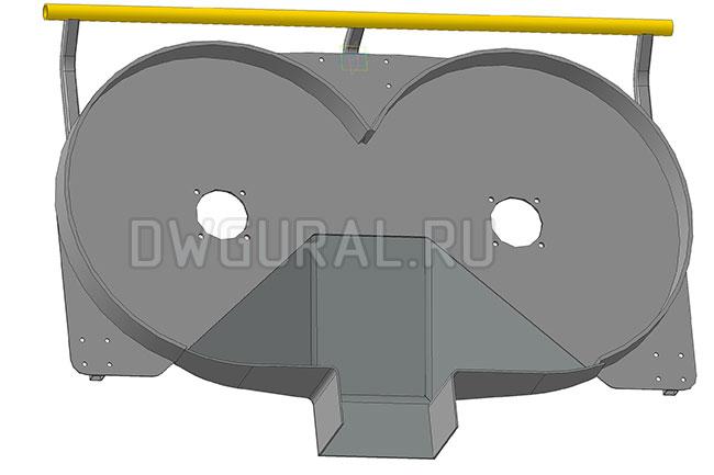 Корпус  Газонокосилки   3д модель  вид снизу