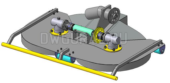 Газонокосилка садового трактора. Привод от гидромотора.   3д модель   изометрия