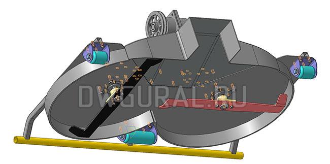 Газонокосилка садового трактора. Привод от гидромотора.   3д модель   вид с низу